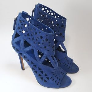 Brian Atwood Blue Suede Levens Laser Cut Heels 6